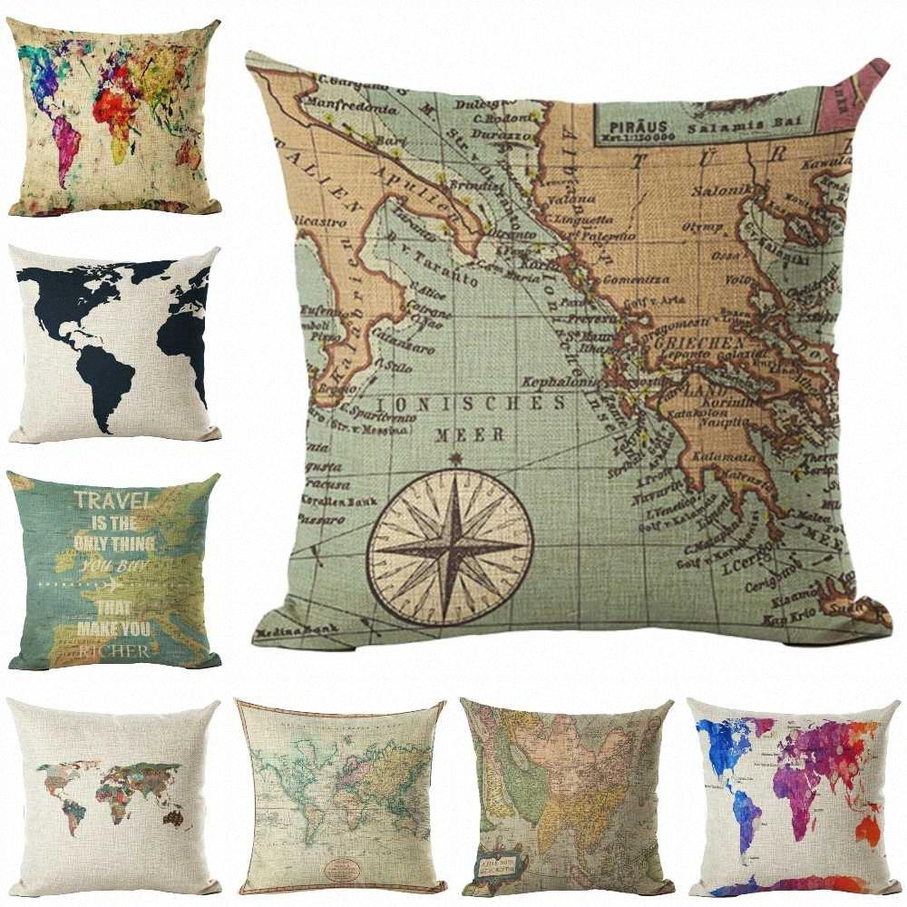 Lychee Linen Fancy Map Printed Cushion Case Modern Flax 45x45cm Cushion Cover For Bedroom Home Office 4kwh#