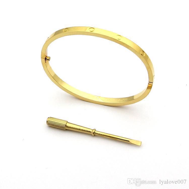 Mode Liebe Armbänder Armbänder für Frauen-Edelstahl, Gold, Silber Rose Gold Schraubendreher Armbänder Armband dünnen Liebhaber Armband Frauen