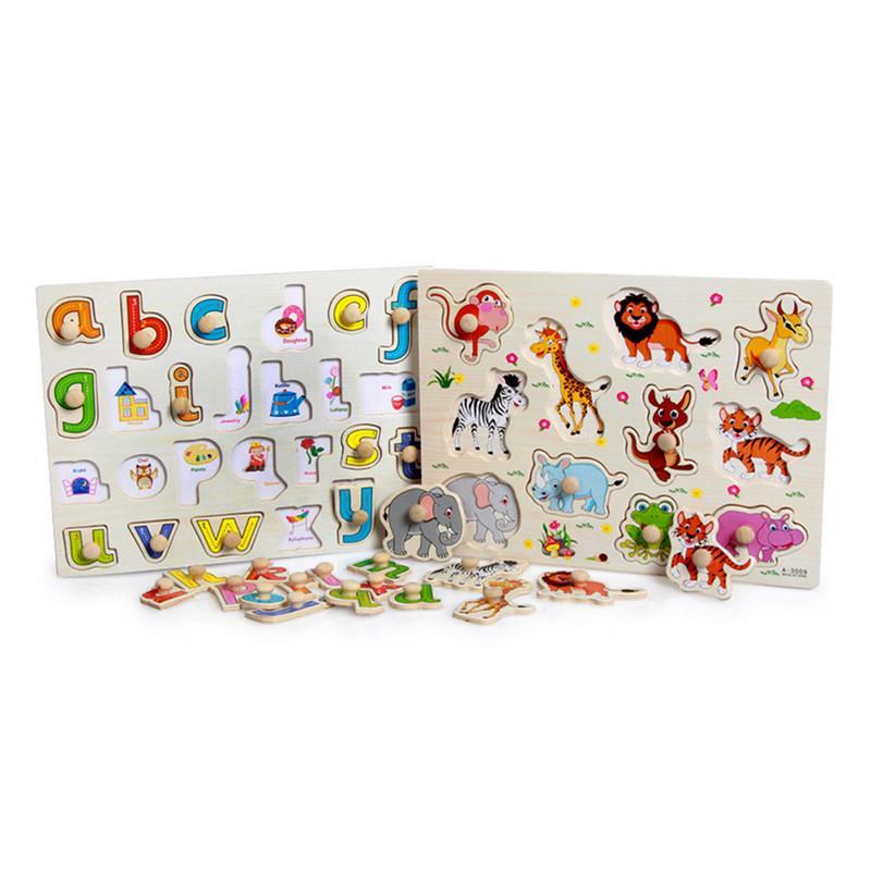 Brinquedos Do Bebê Montessori Puzzle De Madeira Punho De Mão Punzles De Madeira Educacional Para Crianças Cartoon Animal Veículo Aprendendo Presente Criança