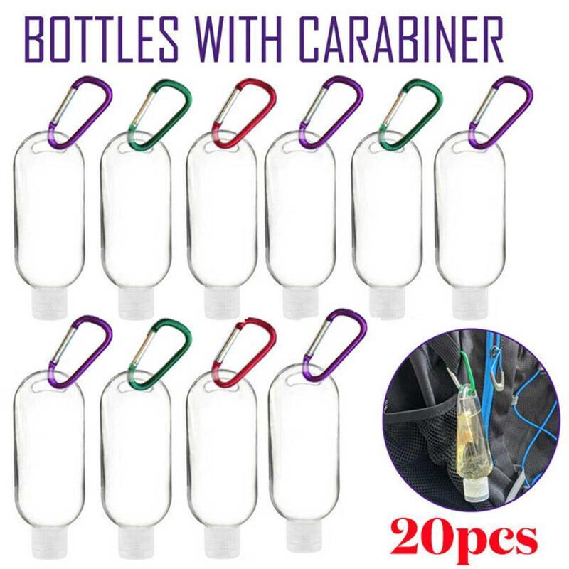 20pcs recargable recorrido de la botella al aire libre portátil con gancho reutilizable de embalaje vacíos