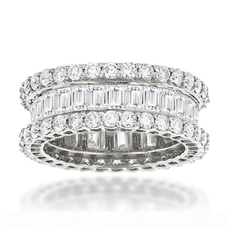 S Sunset Boulevard Eternity Promise Ring Diamond 925 Sterling Silver Engagement Wedding Band Ring For Women Men Jewelry