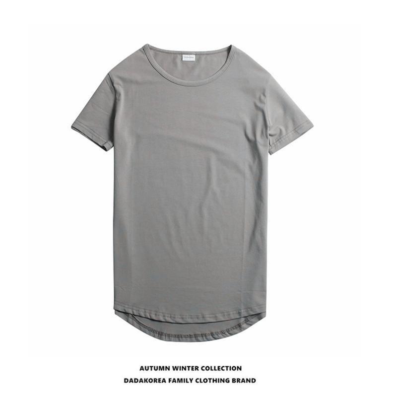 DADAKOREA verão selvagem sólida tendência casal cor roupa curvo hem metade camisa de mangas assentamento t-shirt dos homens de manga curta