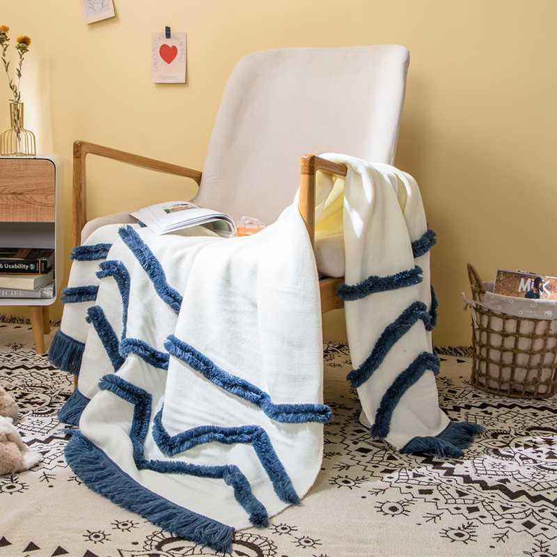Tassles Summer Knit Throw Одеяло для путешествий Главная Диван Обложка Мантас Koc для кресло-кровать Фото реквизита 130x160cm