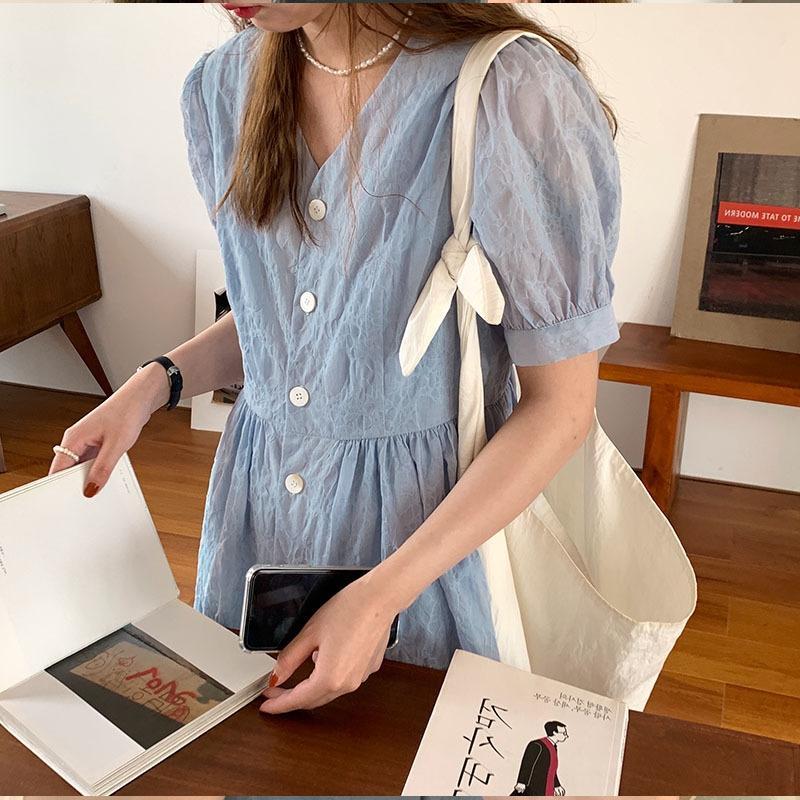 h28xo 2020 Summer long style simple elegant pattern V-neck Korean marble Doll marble skirt ~ Alice blue/black short and doll