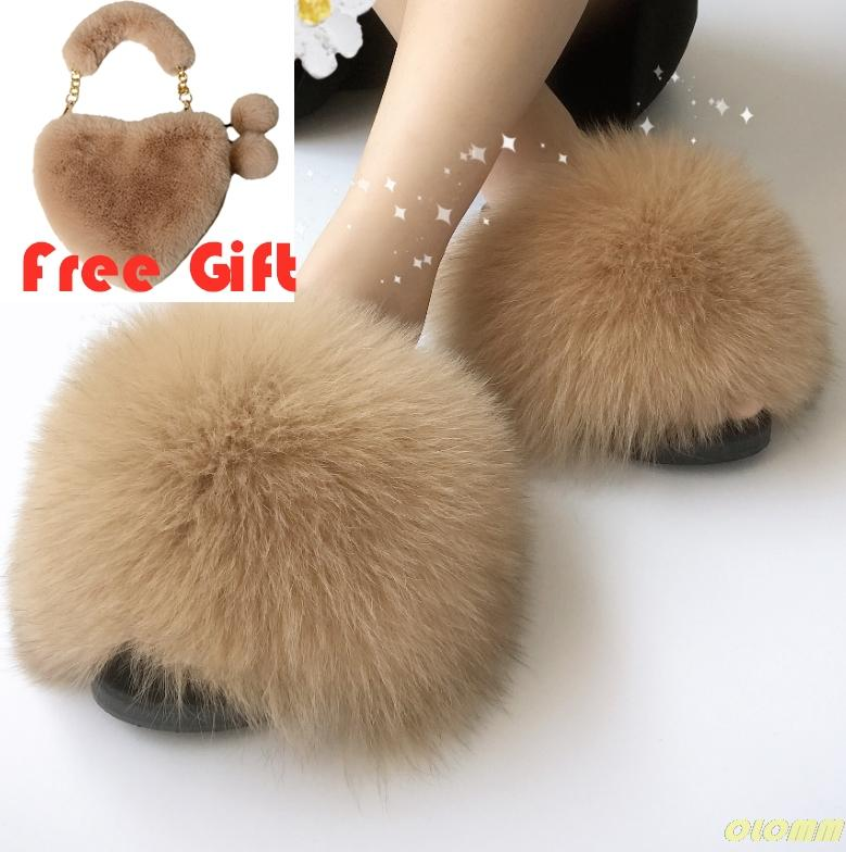 Sommer-Frauen-Pelz-Slipper Set Fashion Fluffy Pelzhandtaschen-beiläufiger Plüschfell Slides Schuhe Nette Faux-Taschen-Sets Hot