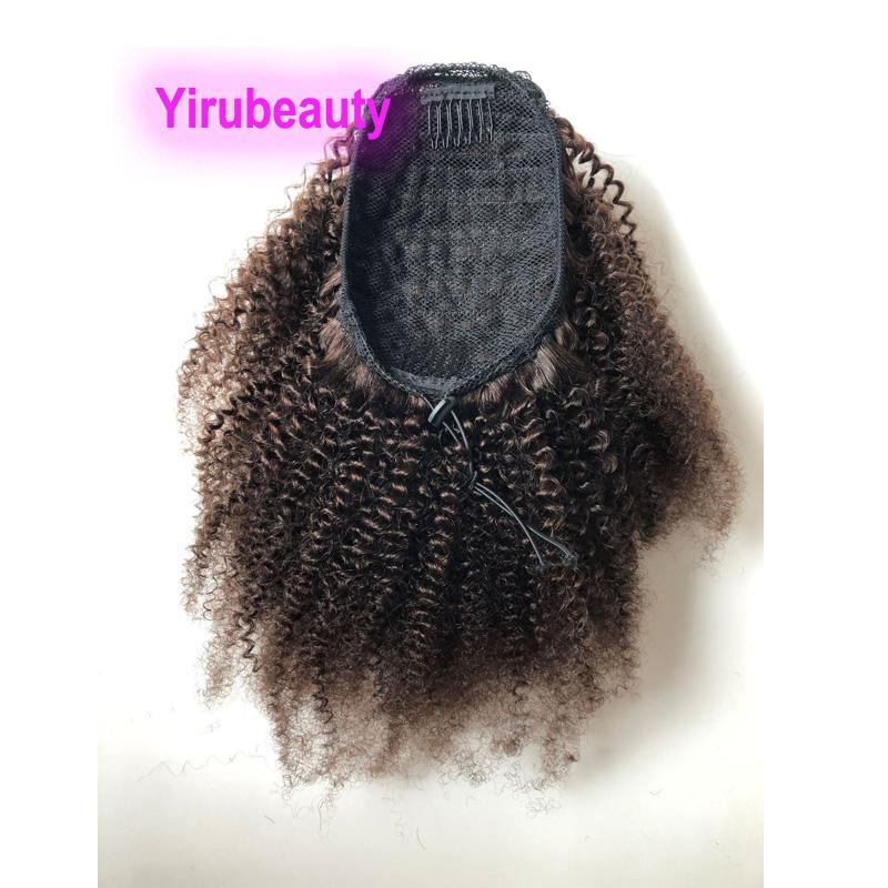 2 # color Kinky colas de caballo Extensiones de cabello rizado Cola de caballo brasileño del pelo humano indio Peruivan rizado # 2 Pure Color 10-20inch afro rizado rizado