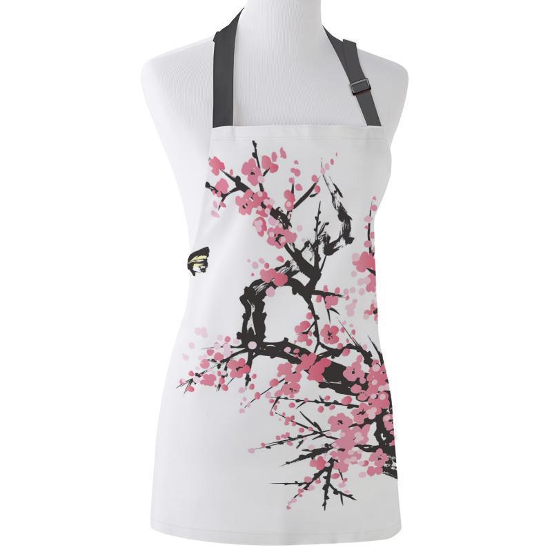 Grembiule da cucina Cherry Blossoms Pink Butterfly Albero Fiore regolabile Bib Tela Grembiuli per le donne da cucina cottura Grembiulino