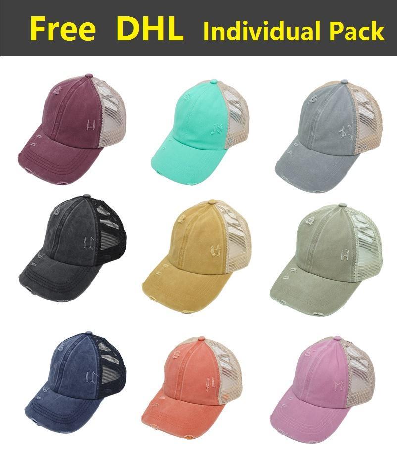 Pamuk Trucker Yıkanmış at kuyruğu Beyzbol şapkası Criss Çapraz Yaz Snapback Şapka Spor Hip Hop Siperlik DHL Caps