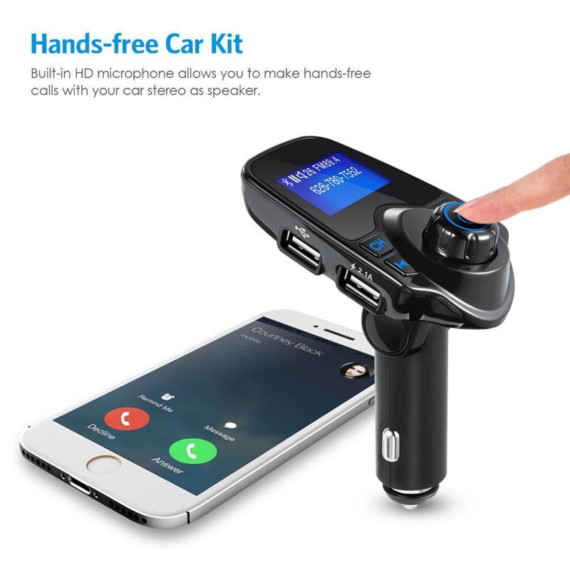 Bluetooth inalámbrico para coche reproductor de mp3 kit de coche manos libres Transmisor FM 5V 2.1A Dual USB cargador de coche Pantalla LCD modulador de FM