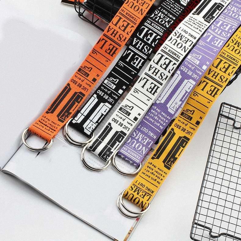 Lettere stampate Cintura donna lungo largo Doppia fibbia della cintura allungare D Anello dei jeans del cinturino di tela ragazze cinghie unisex di alta qualità wGWy #
