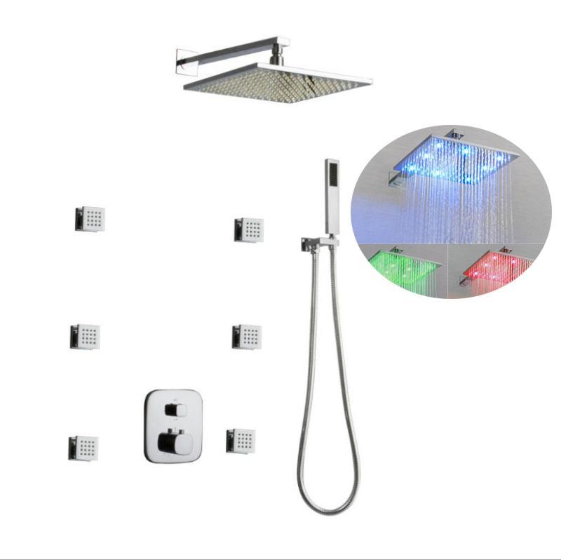 "Modern 12"" LED Light Rainfall Shower Systems Concealed LED shower head Massage 2 inch Body Spray Jets for bathroom Shower Set"