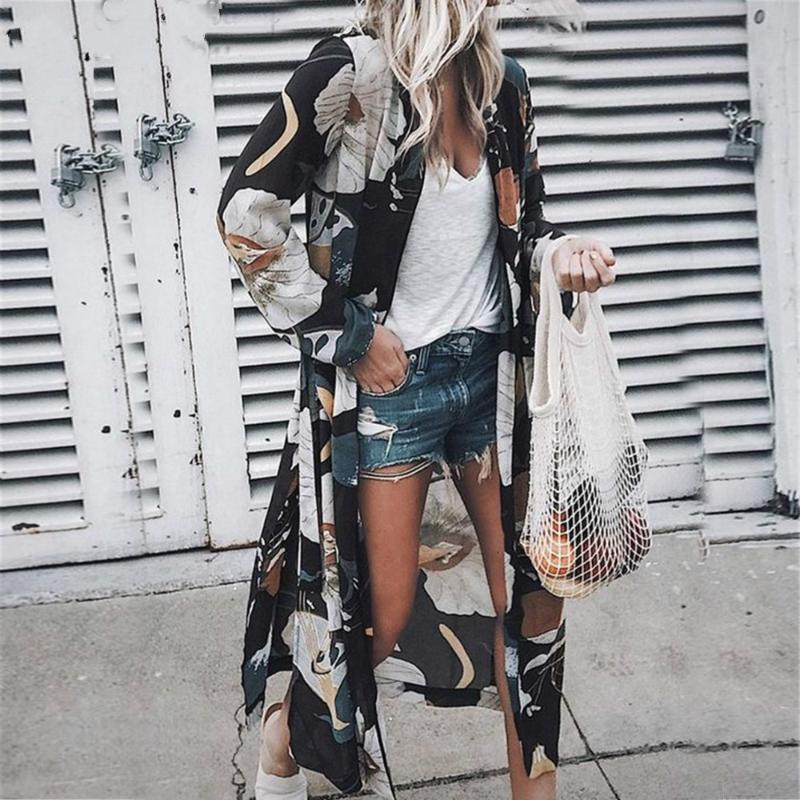 2020 beiläufige Boho Strand-Kleid-Frauen-Blumen Langarm Chiffon Cardigan Brown Kleid Kimono-Vertuschungen Sommer-beiläufige Maxi Kleider