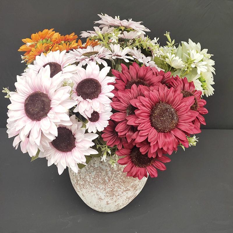 Шелковый подсолнечника Искусственные цветы Branch Букет для дома и офиса партии Garden Hotel Свадебное украшение