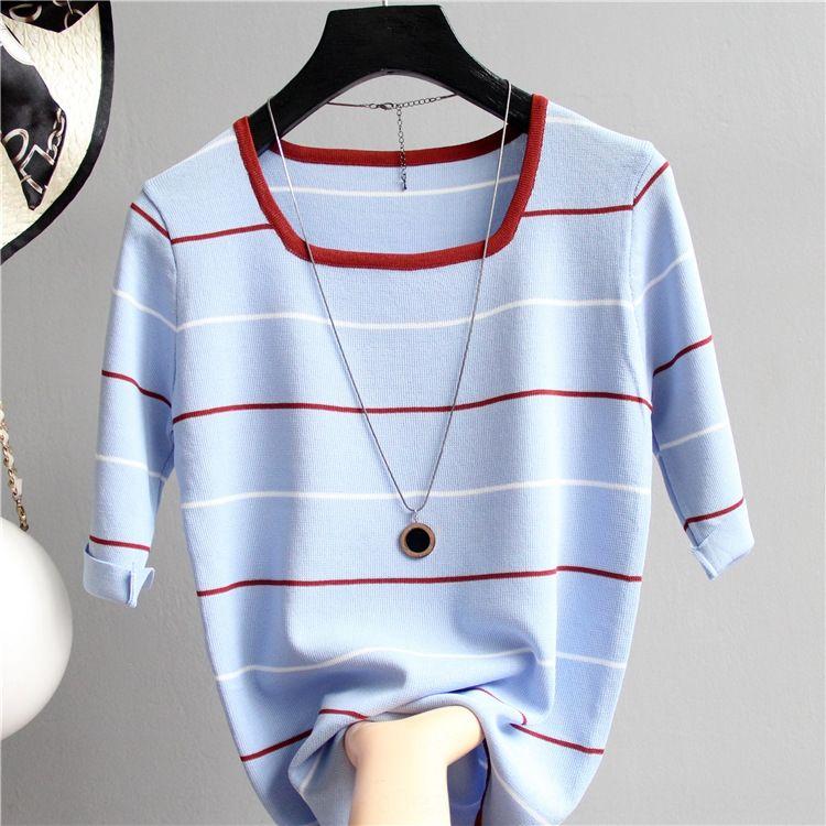 a1Qvt otoño color de la luz superior de la manera de punto pequeño collar cuadrado rayado media Top manga de la camisa de base delgada de hielo camisa de seda