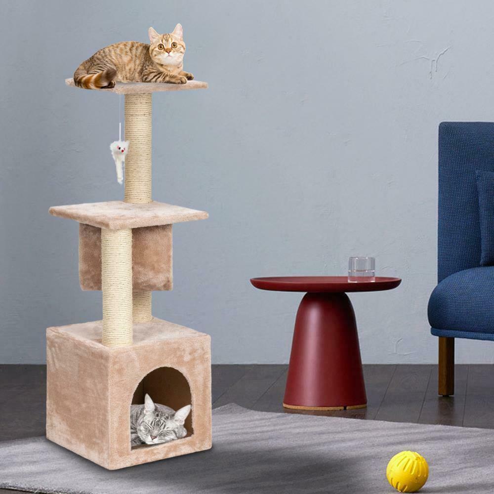 "36"" Cat Tree Bed Furniture Tour Scratching Post Condo Kitten Pet Maison Beige"