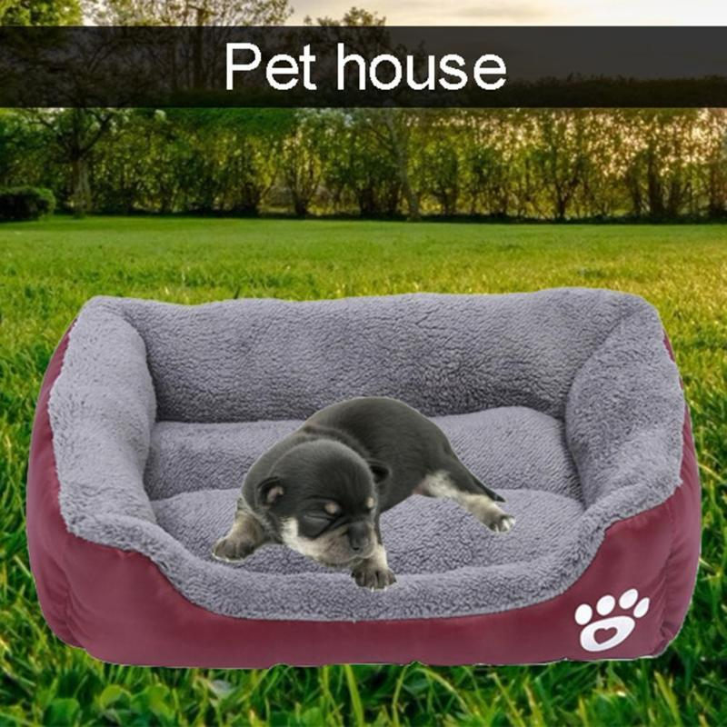 Print Pets Sofa Soft Fleece Warm Dogs Puppy Bed Thick and Warm Cotton Velvet Oxford Cloth Waterproof Kennel Cats House