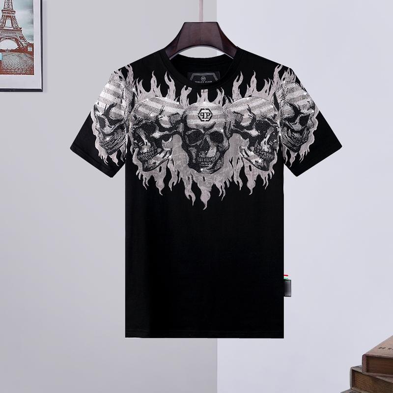 hommes concepteur t-shirt des hommes de crâne T-shirt d'impression de haute qualité T shirt des hommes chaussures concepteur sac à main Phillip phillip simple plaine PP yy10