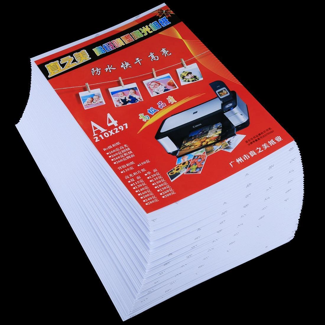50 hojas de 8,3 x 11,7 pulgadas A4 impermeable papel fotográfico brillante de inyección de tinta para impresoras