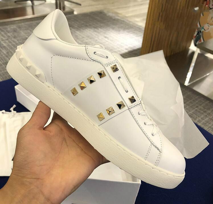 All White Lady Comfort Casual Sapato Esporte Sneaker Mens Couro Casual Shoes Designer Casual Ténis Skateboarding lowtop Sneakers
