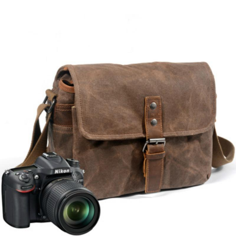Retro Waterproof Camera Bag Photography Packages DSLR Shoulder Sling Case for Sony Nikon Canon Canvas Micro Single Messenger Men T191025