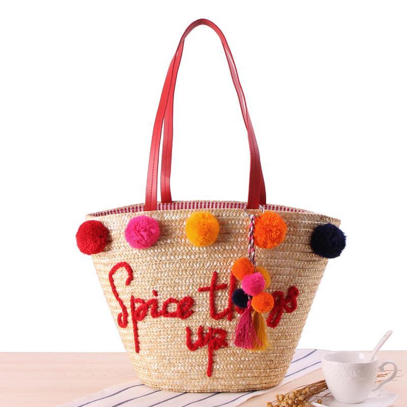 Renkli Topu Büyük Plaj Çantaları Lüks Tasarımcı Straw Çanta Kadınlar Örme El yapımı Çantalar Yaz Seyahat Bayanlar Omuz Çantası W319