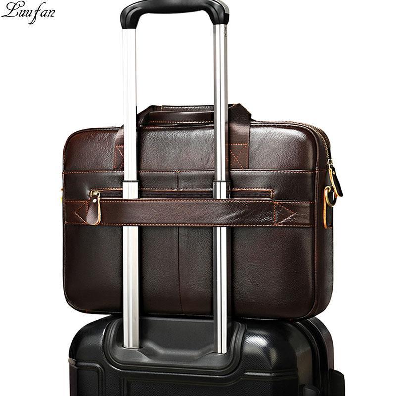 Tote di viaggio Luufan sacchetto di cuoio genuino maschile cartella di affari degli uomini di 14 pollici Laptop Bag in pelle naturale Messenger Borse Uomo