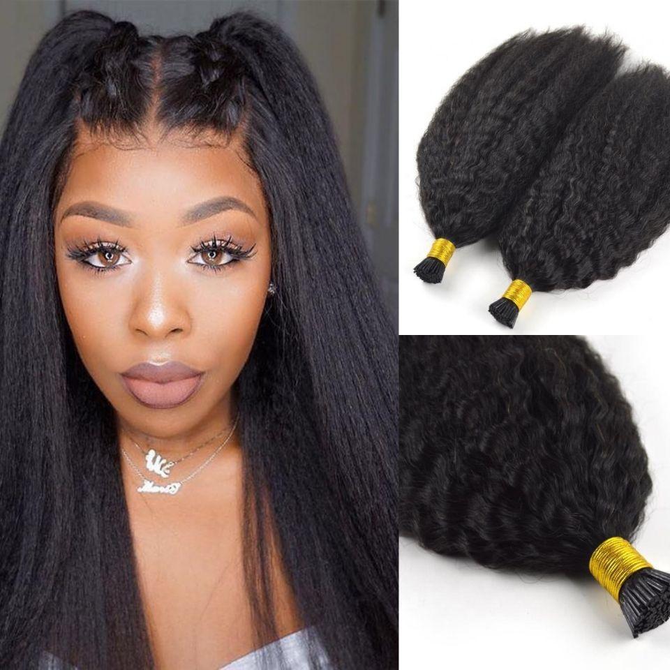 10A Grade Kinky gerade I Tipp Haarerweiterungen Natürliche schwarze Farbe Remy Vorgebundene Micro-Links Itips-Erweiterung