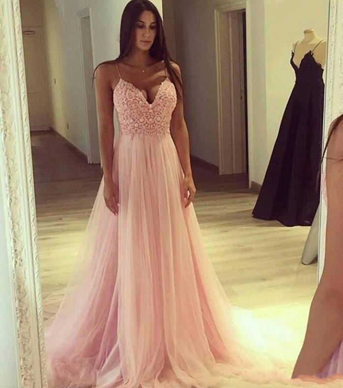 Elegante Blush Pink Prom Dresses sexy in pizzo spalline Una linea formale di sera del partito degli abiti di Tulle molle 2020 Estate da damigella d'onore AL6508