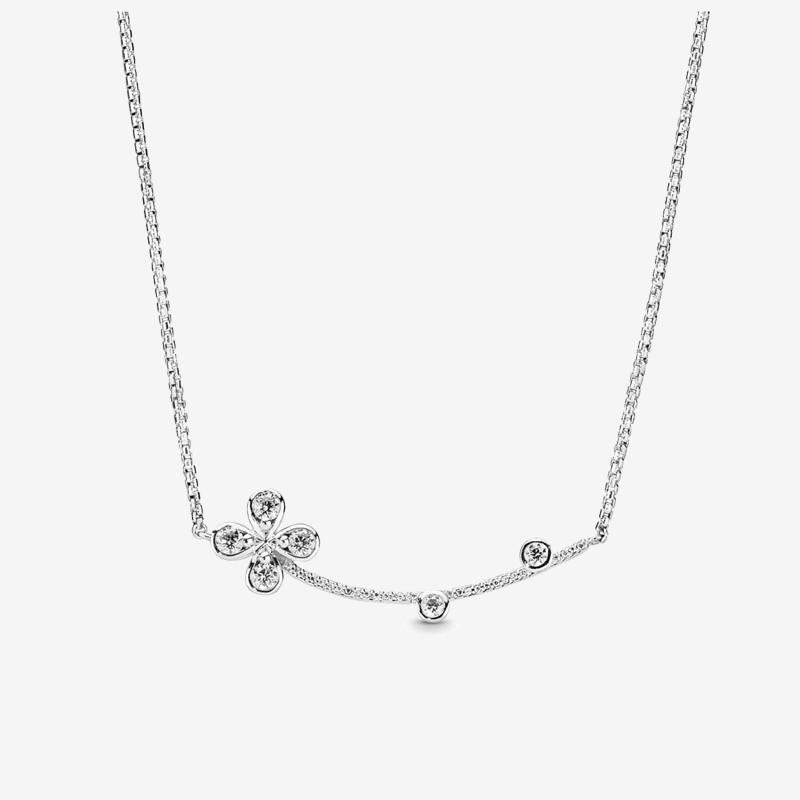 Beautiful Womens Sparkling Clover Pendant NECKLACE Wedding Gift Luck Jewelry for Pandora 925 Sterling Silver Necklaces with Original box