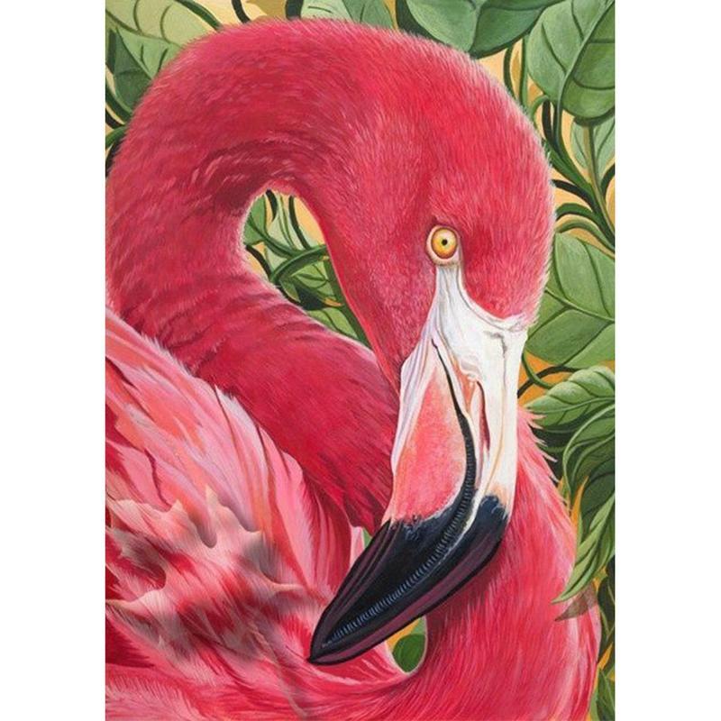 Red Flamingo Животное Полное сверло 5D Diamond Round Rhinestone Вышивка Живопись DIY Крещевой Крещеный Кит Мозаика Направьте Домашний Декор Подарок