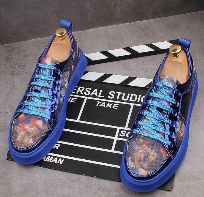 uomini di alta qualità mocassini scarpe casual appartamenti calza da tavolo Hip hop uomini sneakers mocassini di stampa di altezza crescente Shoes