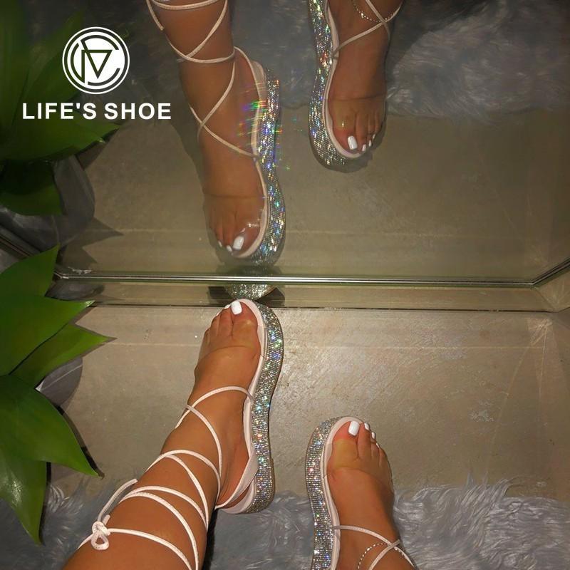 2021 Tobillo Correa Rhinestone Sexy Abre Toe Ladies Beach Zapatos Femenino Tallas grandes Plataforma de verano Sandalias Partido Femenino Damas Zapatos
