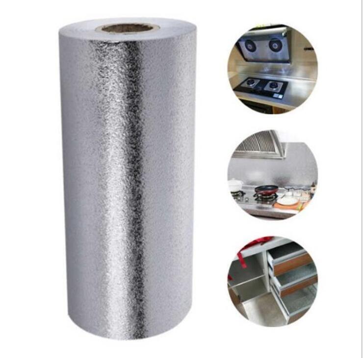 Обои Алюминиевая фольга Обои Водонепроницаемый Proof сгущает Кухня Обои 3D Масло влагоизолирующие Dust Proof Кухонные принадлежности LSK309
