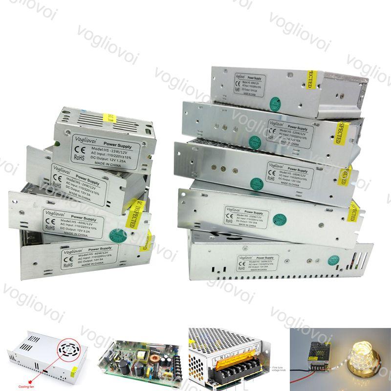 Lighting Transformers Interruptor Driver Saída DC12V 360W 400W 500W 110-240V Acessórios de alumínio para tiras LED Módulos de luz DHL