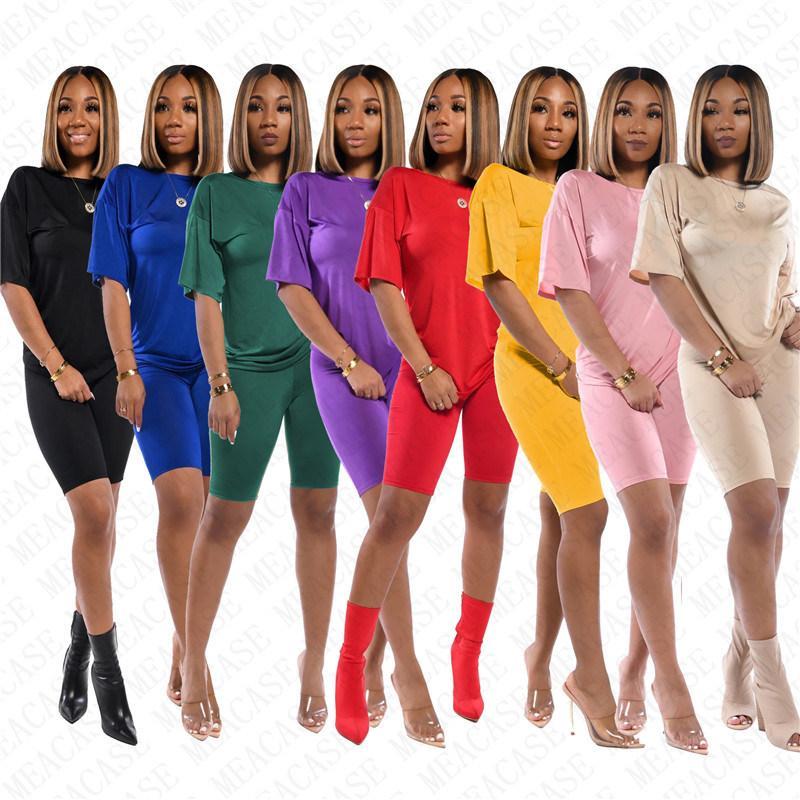 Женщины из двух частей обмундирования Повседневный шею Solid Color Slim с коротким рукавом Футболка Шорты Леггинсы Летние Бич спортивные костюмы 12 цветов D71403