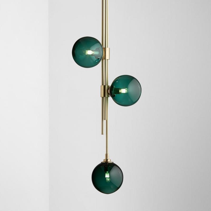 Dark Green Glaskugel Moderne Hängeleuchten LED Pendelleuchten für Wohnzimmer Esszimmer Schlafzimmer PVC Lampshade Startseite