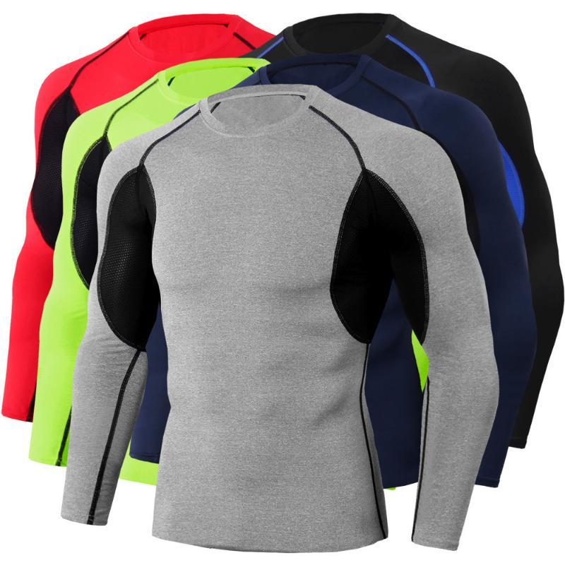 Running Jerseys Shirt Fitness Men Compression Tights Bodybuilding Rashguard Long Sleeve Gym T Crossfit Tops