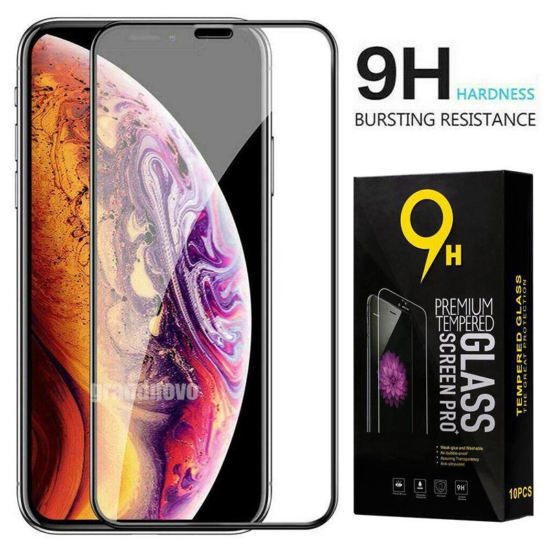 Gehärtetes Glas Volle Abdeckung gekrümmter Displayschutzfolie Filmschutz für iPhone 13 Pro max 12 mini 11 xs xr x 8 7 6 6S plus se mit dem Einzelhandelspaket