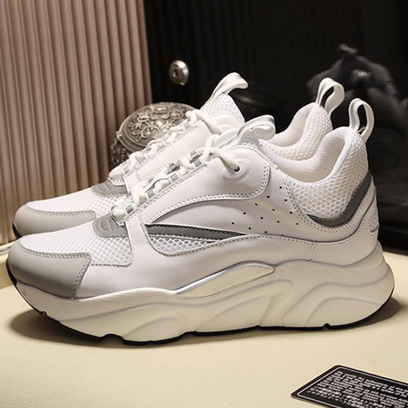 Erkekler Ayakkabı B22 Sneaker in Beyaz Teknik Örgü Beyaz Ve Gümüş tonlu Dana derisi Açık Yürüyüş Vintage Dantel -Up Günlük Ayakkabılar Herren Sportschu