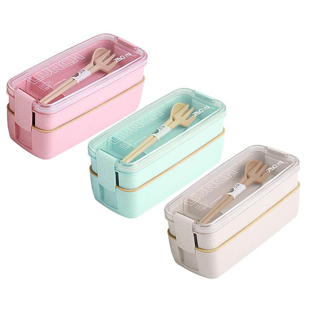 750ml Healthy Material Wheat Straw Bento Boxes 2 Layer Lunch Box Microwave Dinnerware Food Storage Container Lunch box T200710