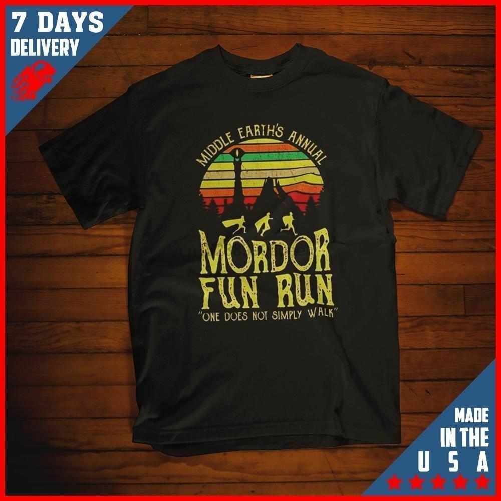 Medio Terre Annual Mordor Fun Run maglietta unisex nero S-6XL T-Shirt da corsa