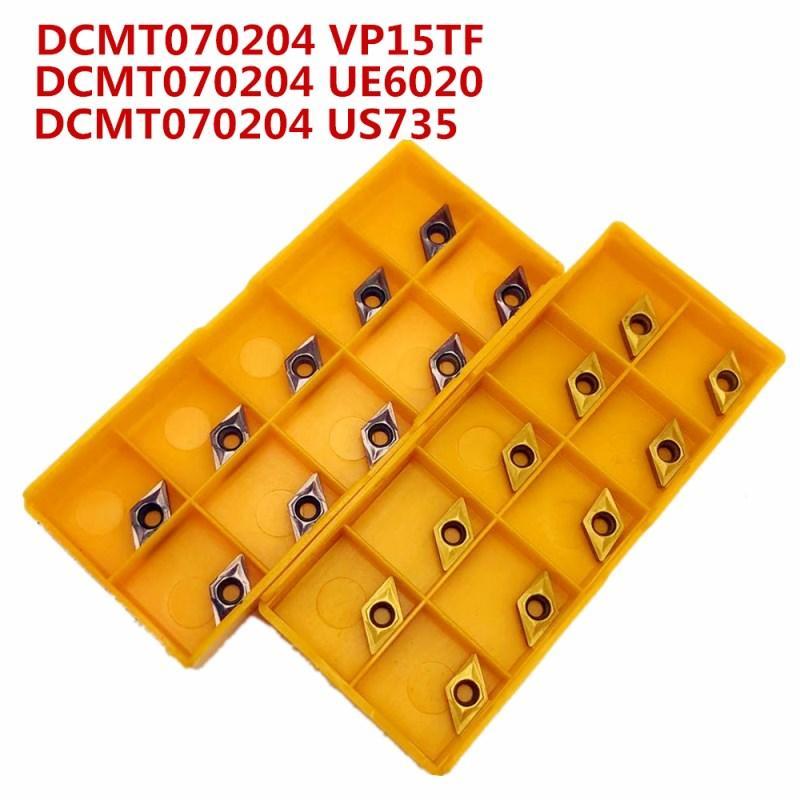 Carbide ferramenta DCMT070204 US735 ferramenta ferramenta de giro metal externo girando Torno fresadora ferramentas CNC DCMT 070.204 fresa