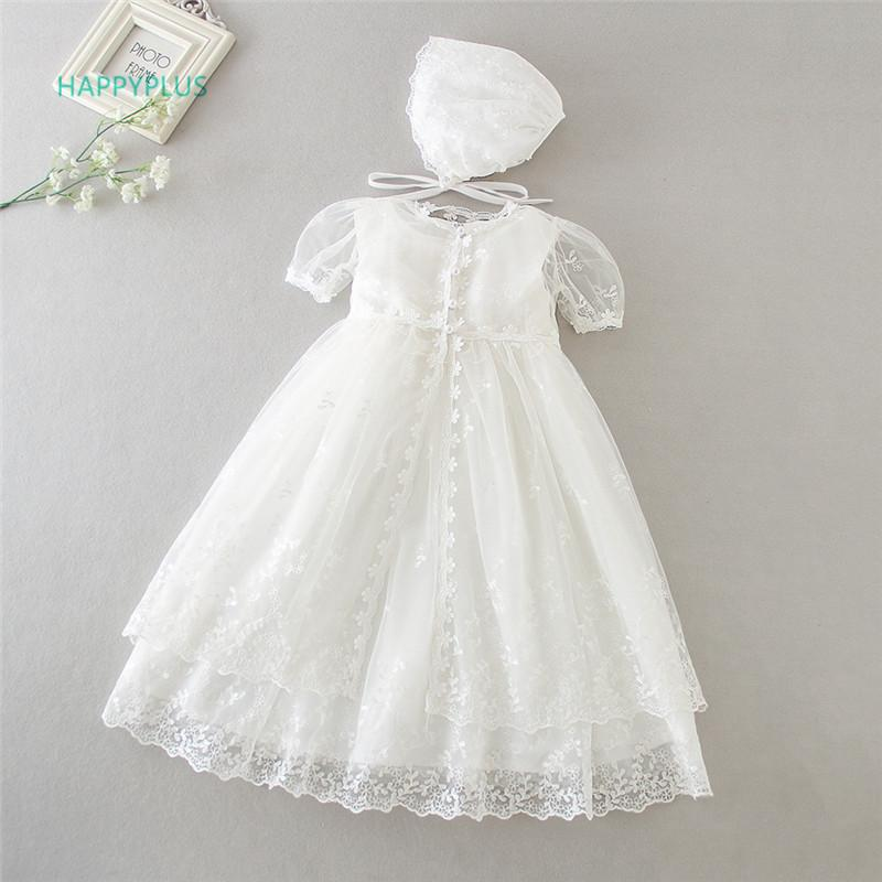 HAPPYPLUS Vintage Christening Dress for Baby Girl Frocks Lace Baby Shower Dress for Baptism Second First Birthday Outfit Girl CX200803
