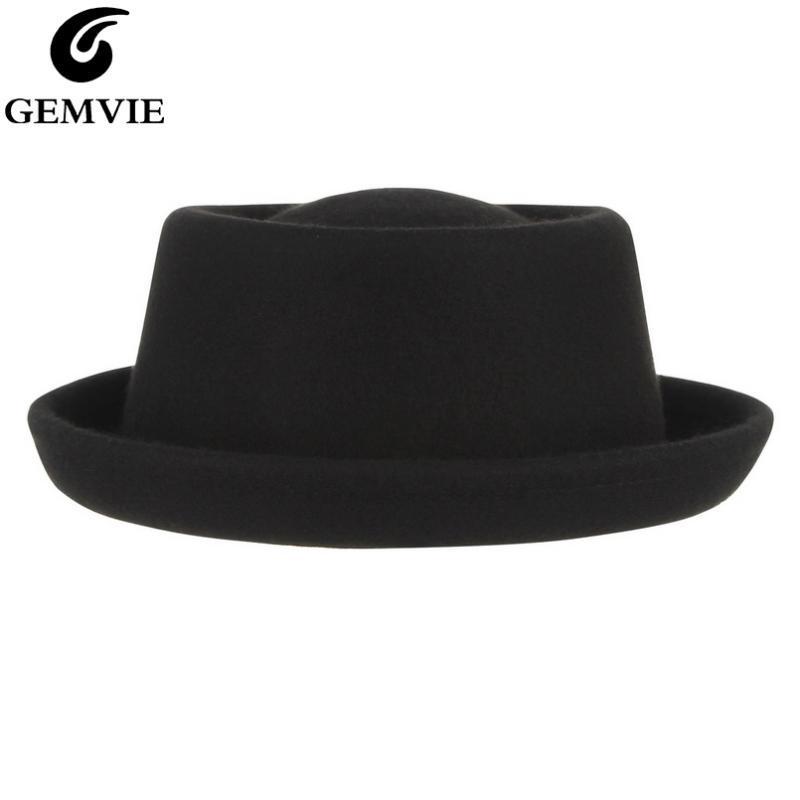 GEMVIE clásico 100% de lana suave carne de cerdo fieltro de lana Pie Hat Fedora para los hombres de las mujeres del otoño del invierno del sombrero de ala curvada