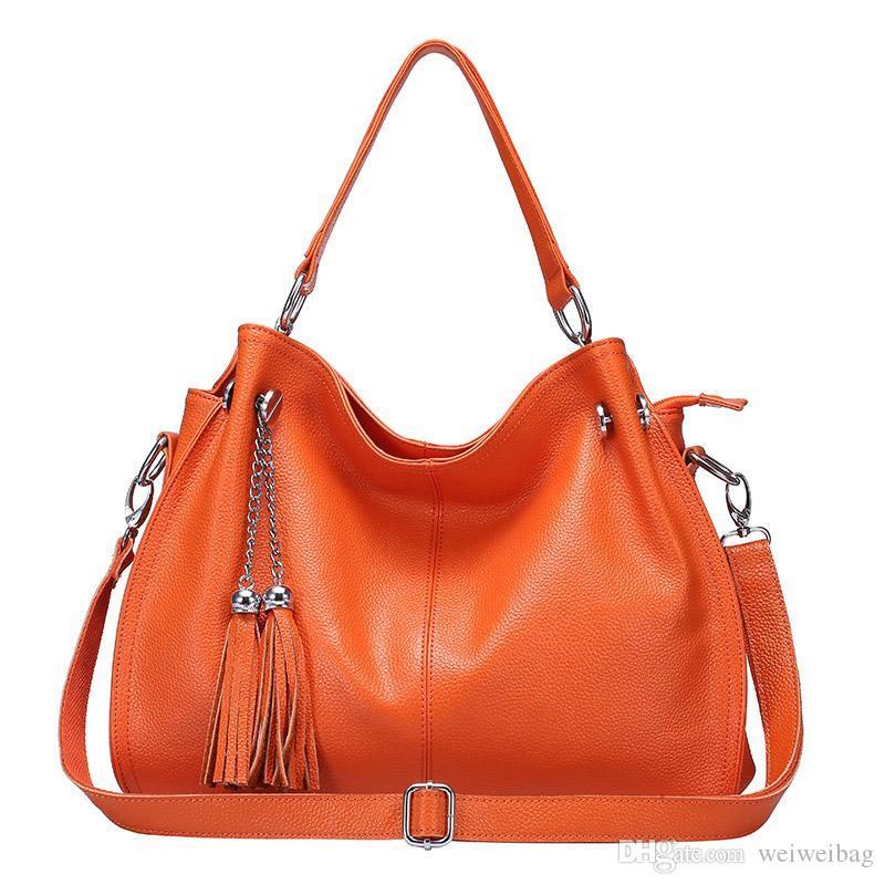 السيدات حقائب اليد الجلدية أزياء السيدات قطري كتف حقيبة التسوق الكبيرة أوروبا وأمريكا الترفيه البرتقال حقيبة قطري 0217