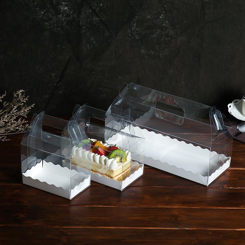 Torta del rodillo transparente caja de embalaje Eco Friendly de plástico PET Suizo Rolls caso de la mano Held Alimentos Conainers 2wk3 E1