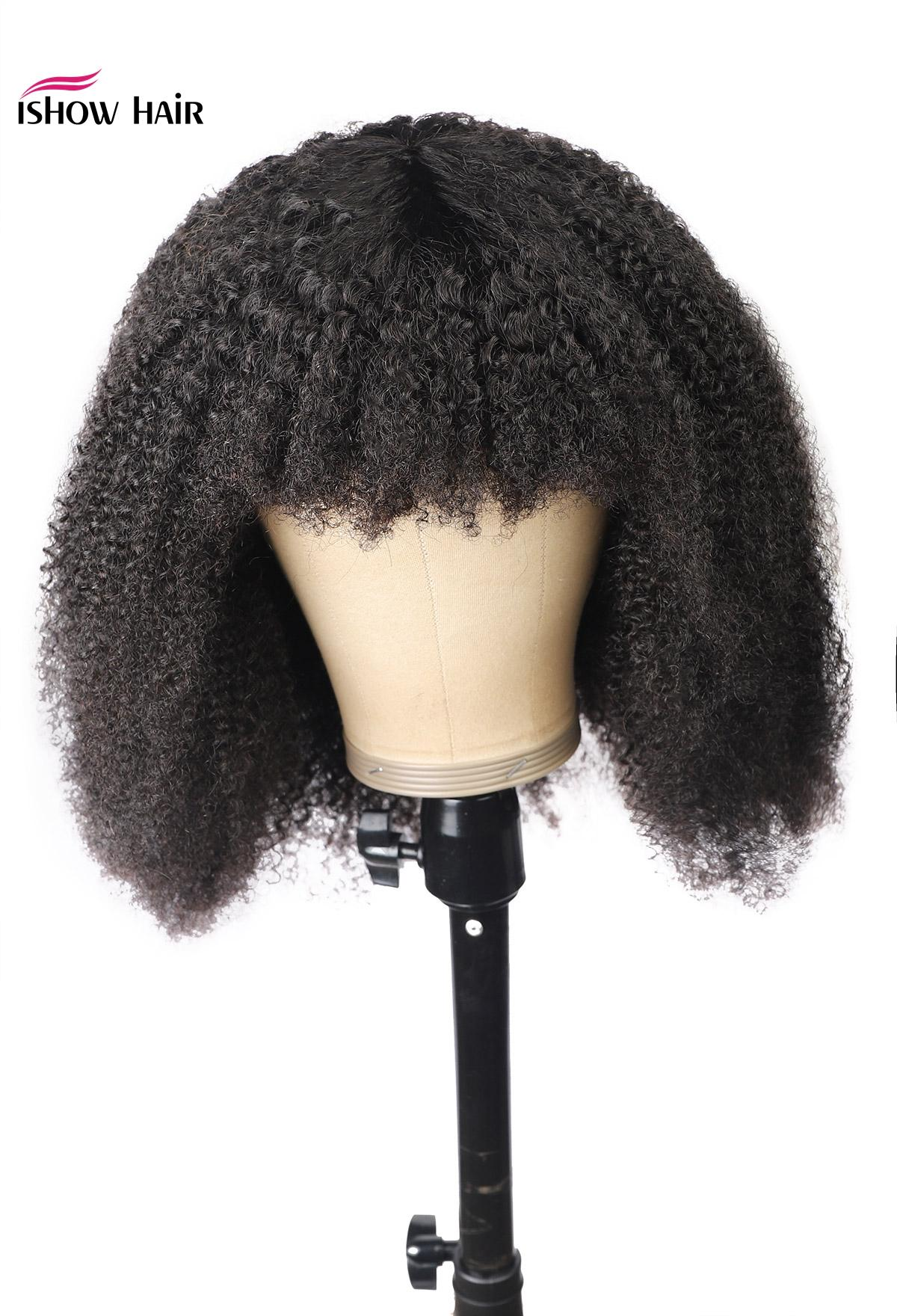 Ishow Afro verworren Curly Short Bob Perücken Gerade Menschenhaar-Perücken mit Bangs losen tiefen Körper peruanische Keine Spitze-Perücken indischen Haar Malaysian