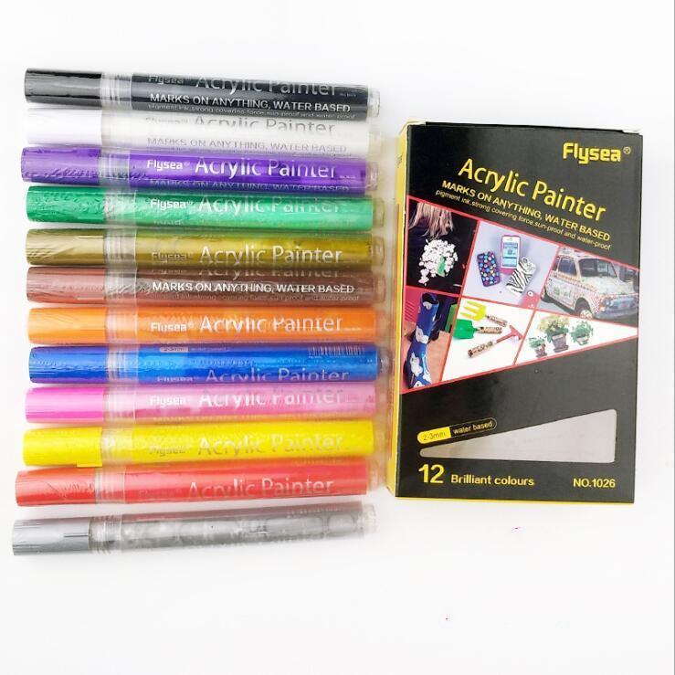 ماركر السيراميك الطلاء أقلام الكتابة على الجدران الاكريليك علامات الطلاء فرشاة الفنان رسم زيتي خربش مجموعة اللوازم المدرسية 12PCS / مجموعة DHC536