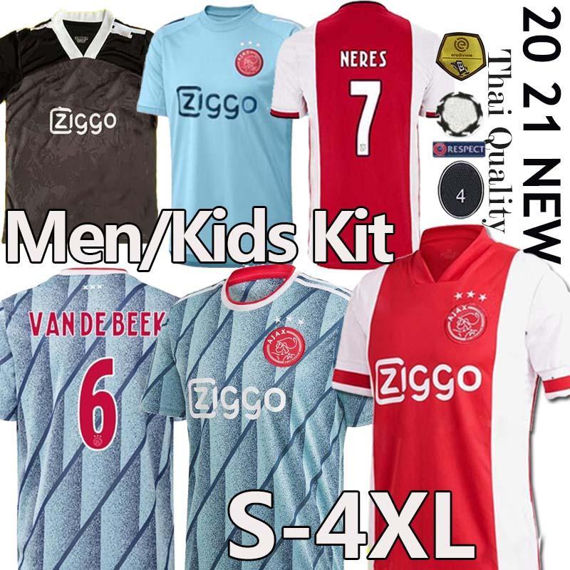 (20 개) (21) 아약스 FC 축구 유니폼 2020 2021 PROMES 알바 레즈 타 디치 NERES ZIYECH VAN 크는 남성 + 어린이 축구 셔츠 유니폼 멀리 타이츠