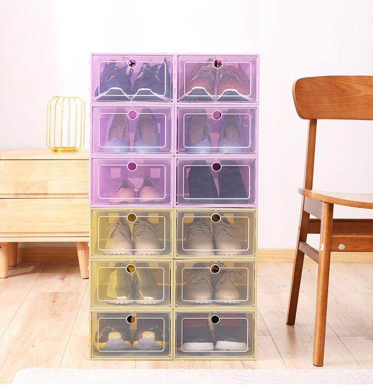 7 الحذاء اللون البلاستيك تخزين مربع شفاف السلع المنزلية تخزين مربع قابلة للثني درج حذاء صندوق XD23684